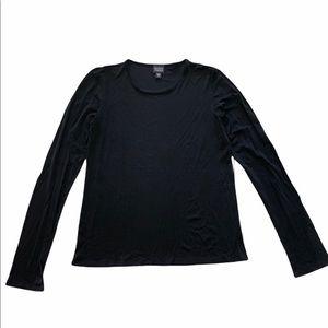 Eileen Fisher 100% Silk Black Long Sleeve Top XS